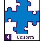 Visualisatie van NORA Basisprincipe 4: Uniform. In een vierkant vlak zijn de hoeken gevuld met witte puzzelstukken, in het midden ontstaat nu een blauw vlak dat er uit ziet als aaneengesloten blauwe puzzelstukken.