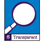 Visualisatie van NORA Basisprincipe 6: Transparant. Een wit vergrootglas tegen een blauwe achtergrond