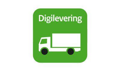 """Illustratieve afbeelding: vrachtwagen met tekst """"digilevering"""""""