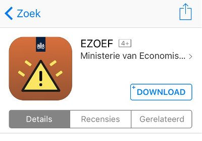 Screenprint van app ezoef