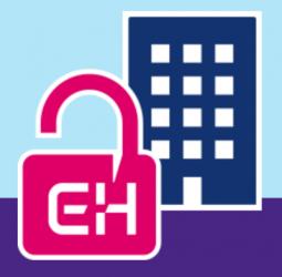 Illustratie hangslotje met letter E en H