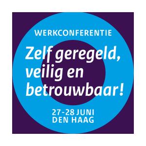 Banner met tekst: Werkconferentie Zelf geregeld, veilig en betrouwbaar, 27-28 juni Den Haag