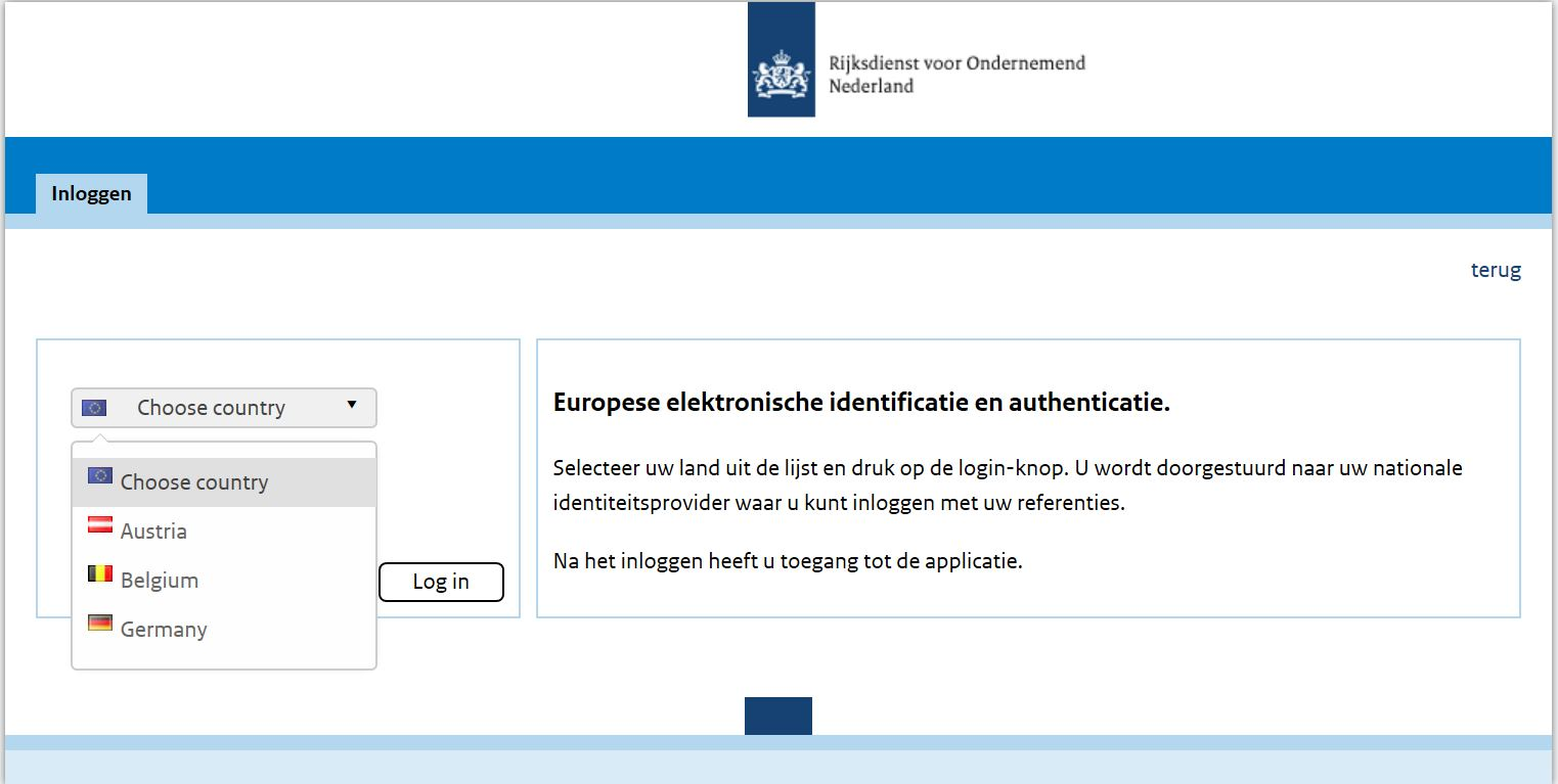 eIDAS-verordening, RVO, identificatie en authenticatie