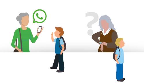 4 personen opzoek naar informatie via een mobiel device