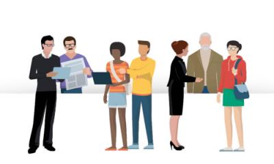 Decoratief: illustratie mensen die online zaken moeten regelen
