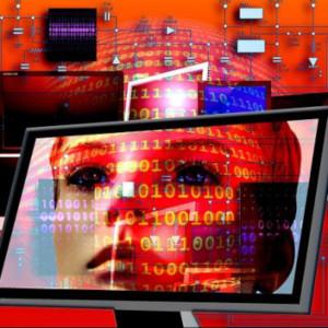 Illustratieve afbeelding van beedscherm, gezicht en data