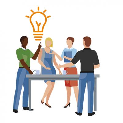 Illustratieve afbeelding: 4 personen rond een tafel, één krijgt een idee.