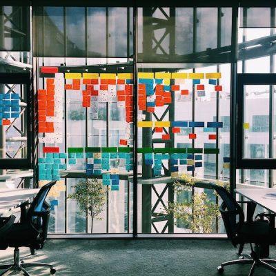 Decoratief: beeld van post its op een kantoorraam