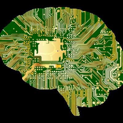 Illustratieve afbeelding van hersenen met computerverbindingen.