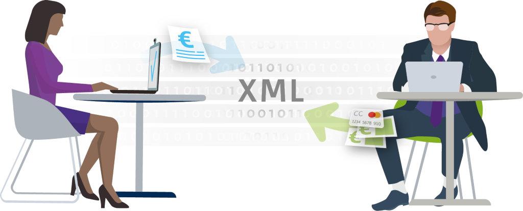 Illustratieve afbeelding: vrouw achter computer stuurt XML-bestand naar man achter computer