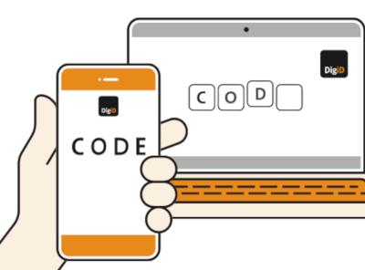 Illustratie laat zien hoe je met hulp van DigiD app inlogt op DigiD