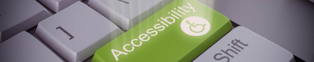 Toetsenbord met groene knop met tekst toegankelijkheid