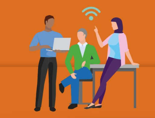 Illustratie in de stijl van de Agenda Digitale Overheid. Diverse mensen met digitale middelen in relaxte pose rondom een tafel. Daarboven een wifi teken.
