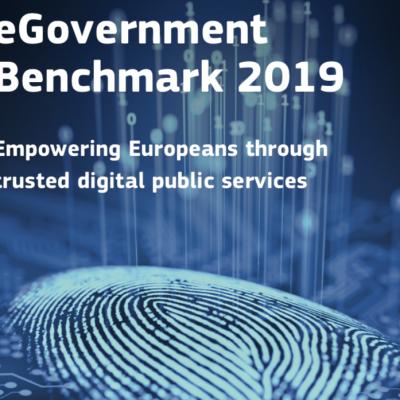 """afbeelding van de kaft, met de tekst (Engels) """"eGovernment Benchmark 2019, empowering Euopeans with trusted digital public service"""" met de afbeelding van een vingerafdruk."""