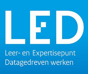 Banner met tekst LED Leer- en Expertisepunt Datagedraven werken