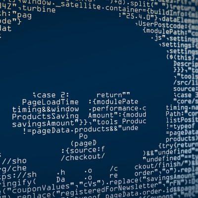 afbeelding van een doodshoofd uit computercodecode