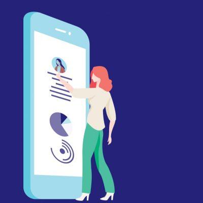 Vrouw raakt een reusachtige smartphone aan. (Afbeelding op de kaft van het onderzoek)