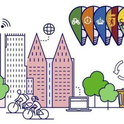 Tekening over de challenges, met daarop gebouwen, fietsen, ballonnen met de logo's van de deelnemende organisaties en een recycle log.