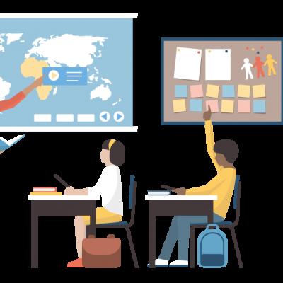 leraar Illustratie: leraar voor de klas met een digibord.