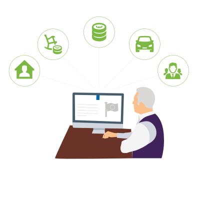 Afbeelding die regie op gegevens symboliseert: man zit voor een computer met daaromheen tekens van huis, auto en geld.