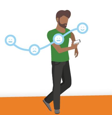 Illustratie van een man die een stijgende lijn ervaart in dienstverlening (weergegeven door smileys)