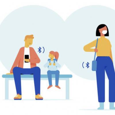Afbeelding die laat zien hoe de telefoon van een vader die met zijn dochter op de bank zit, via Bluetooth contact maakt met een vrouw die langsloopt.