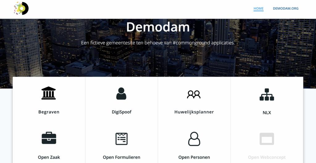 Deel van demodam.nl website met componenten: begraven, Digispoof, Huwelijksplanner, NLX, Open Zaak, Open Formulieren, Open Personen, Open Webconcept